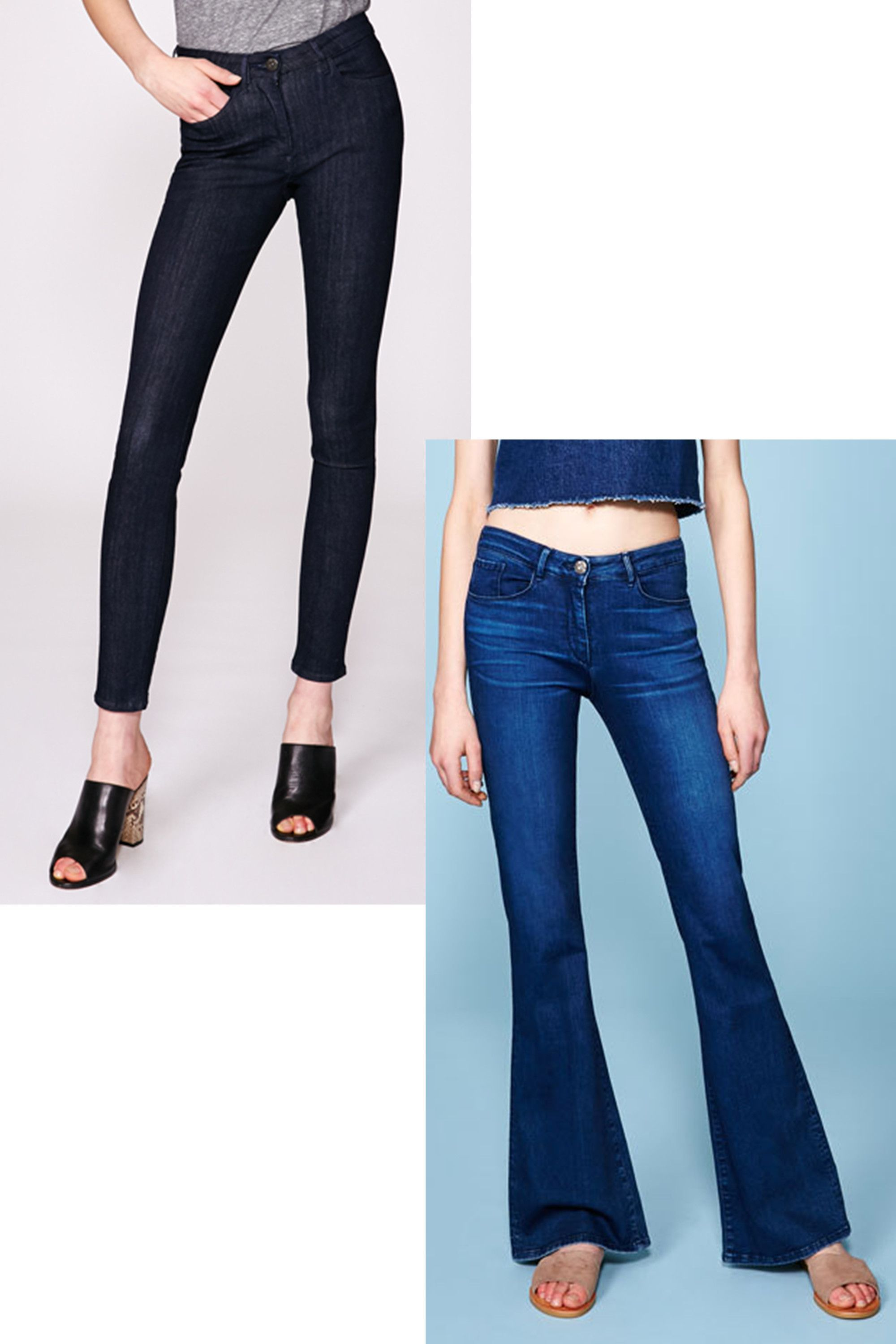 "<p>Riff off the Canadian tuxedo look with a denim crop top over '70s-style bell bottoms. Or, sign up for a super slimming pair of dark wash jeans.</p><p><strong>Bell Bottom Atmos, $195; <a href=""http://3x1.us/shop-women/w25-bell-bottom-atmos/"">3x1.us</a>. High Rise Channel Seam Skinny, #185; <a href=""http://3x1.us/shop-women/w3-high-rise-channel-seam-skinny-alpha/"">3x1.us</a>.</strong></p>"