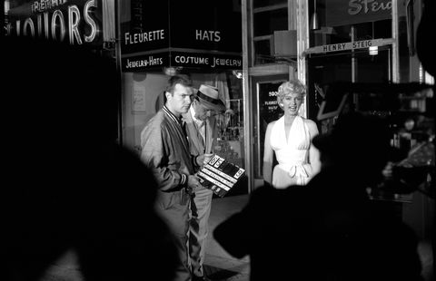 <p>With Tom Ewell on the set of <em>The Seven Year Itch</em> in 1954</p>