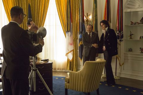 "<p>Did you know that in December 1970, Elvis arrived on the White House lawn to request a meeting with President Nixon? The King of Rock n' Roll was on a mission to be appointed as a ""federal agent-at-large"" to help fight the war on drugs—the picture of the two of the two unlikely collaborators from that day remains the most requested photograph in the National Archives. Director Liza Johnson's depiction of their meeting is partly imagined and partly based on the account of Elvis's friend Jerry Schilling who accompanied him on the trip. <em>Elvis & Nixon</em><span class=""redactor-invisible-space""> creates laugh-out-loud humor from the absurdism of the situation, and Michael Shannon and Kevin Spacey's portrayals of Elvis and Nixon, respectively, are above all based on compassion, showing their characters' motivations and vulnerabilities in a way that lends more dimension and understanding to both figures.</span></p>"