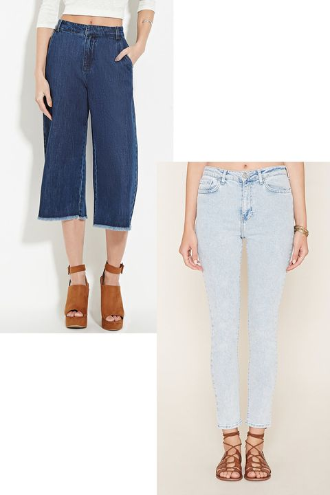 "<p>Faded denim and frayed culottes at an unbeatable price.</p><p><strong>Contemporary Frayed Culottes, $28; <a href=""http://www.forever21.com/Product/Product.aspx?BR=F21&Category=bottom_jeans-high-waisted&ProductID=2000167647&VariantID="">forever21.com</a>. High Waisted Skinny Jeans, $30; <a href=""http://www.forever21.com/Product/Product.aspx?BR=F21&Category=bottom_jeans-high-waisted&ProductID=2000151371&VariantID="">forever21.com</a>.</strong></p>"