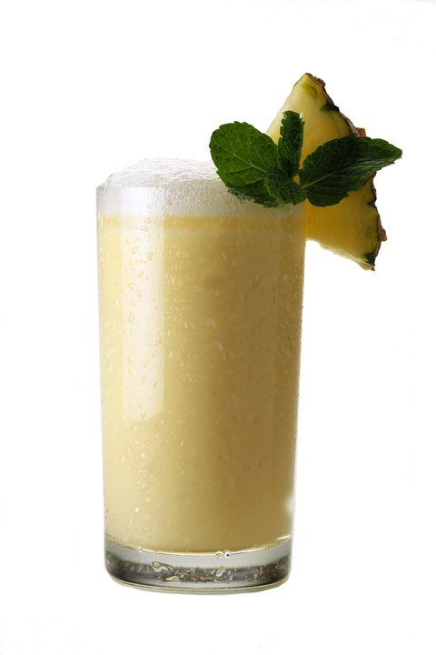 """<p><strong>Ingredients: </strong></p><p>4  1.5 inch Pineapple chunks</p><p>2  Mint leaves</p><p>1 oz. Simple Syrup</p><p>2 oz. Leblon Cachaça</p><p><u><a href=""""http://liquor.com/brands/leblon-cachaca/""""></a></u><strong>Directions:</strong></p><p>Muddle the pineapple, mint and sugar in a shaker. Fill the shaker with ice and add Leblon Cachaça. Shake vigorously. Serve in a rocks glass. Garnish with a pineapple wedge.</p><p><em>From <a href=""""http://www.liquor.com/recipes/the-pineapple-mint-caipirinha/#gs.bNy0LOU"""">Leblon Cachaca</a>. </em></p>"""