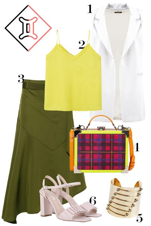 "<p>Color! Versatility is important to you, so we went with a (controlled) mishmash, the pieces from which can all be re-worn at your new job *nudge nudge.*</p><p>1. Boohoo sleeveless blazer, $35, <a href=""http://rstyle.me/n/bnj56mbqb8f"">boohoo.com</a>.</p><p>2. Mango tank top, $40, <a href=""http://rstyle.me/n/bnj55vbqb8f"">shop.mango.com</a>.</p><p>3. Front Row Shop D-ring skirt, $48, <a href=""http://rstyle.me/n/bnj54zbqb8f"">frontrowshop.com</a>.</p><p>4. Aspinal of London frame bag, $407, <a href=""http://www.avenue32.com/us/fushia-plaid-leather-mini-trunk/ASP0011503039401.html?dwvar_ASP0011503039401_color=082&cgid=SALE002#start=2&currency=2&utm_source=LinkShare&utm_medium=Affiliate&utm_campaign=USNetwork&utm_term=QFGLnEolOWg&utm_content=15&mid=37532&siteID=QFGLnEolOWg-aL2uaNRoG4i5PKpG9B18FA&currency=2&utm_source=LinkShare&utm_medium=Affiliate&utm_campaign=USNetwork&utm_term=QFGLnEolOWg&utm_content=15&mid=37532&siteID=QFGLnEolOWg-3vK7kBHNOIrONFszL6OGWQ"">avenue32.com</a>.</p><p>5. Anmaré grommet cuff, $440, <a href=""http://anmarejewelry.com/products/grommet-cuff-sm"">anmarejewelry.com</a>.</p><p>6. Charles & Keith ruffle heels, $57, <a href=""http://www.charleskeith.com/sg/shoes/heels/ruffle-detail-block-heel-sandals-pink-ck1-60280044.html?___SID=U"">charleskeith.com</a>.</p>"