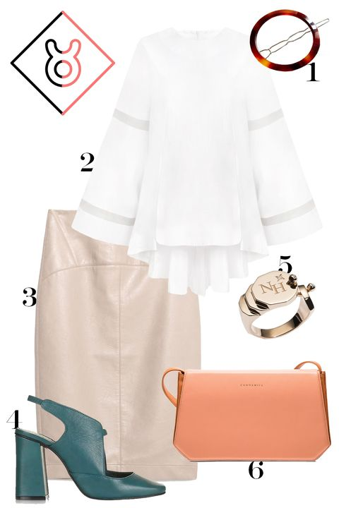 "<p>Left to your own devices, you might just look too...beige. Here, we add some interest with a sheer-panel bell-sleeve top and a standout bag and shoe. </p><p>1. Urban Outfitters tortoiseshell hair clip, $12, <a href=""http://rstyle.me/n/bnj49nbqb8f"">urbanoutfitters.com</a>.</p><p>2. Pixie Market bell-sleeve organza-panel top, $126, <a href=""http://rstyle.me/n/bmivuzbqb8f"">pixiemarket.com</a>.</p><p>3. Zara faux leather skirt, $40, <a href=""http://www.zara.com/us/en/woman/skirts/midi/faded-faux-leather-pencil-skirt-c401024p3275469.html"">zara.com</a>.</p><p>4. Topshop slingback shoes, $130, <a href=""http://rstyle.me/n/bnj47rbqb8f"">topshop.com</a>.</p><p>5. Nouvel Heritage signet ring, $2,200, <a href=""http://www.nouvelheritage.com/products/gold-signet-ring"">nouvelheritage.com</a>.</p><p>6. Candamill leather bag, $900, <a href=""http://www.candamill.com/shop-candamill-accessories/eero-terracotta"">candamill.com</a>.</p>"