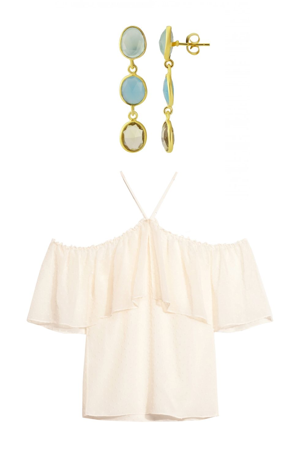 "<p>Auree Jewelry gold and gemstone earrings, $112, <a href=""http://www.aureejewellery.com/tuscany-earrings.html"">aureejewellery.com</a>; & Other Stories off-the-shoulder top, $85, <a href=""http://rstyle.me/n/bnra5hbqb8f"">stories.com</a>.</p>"