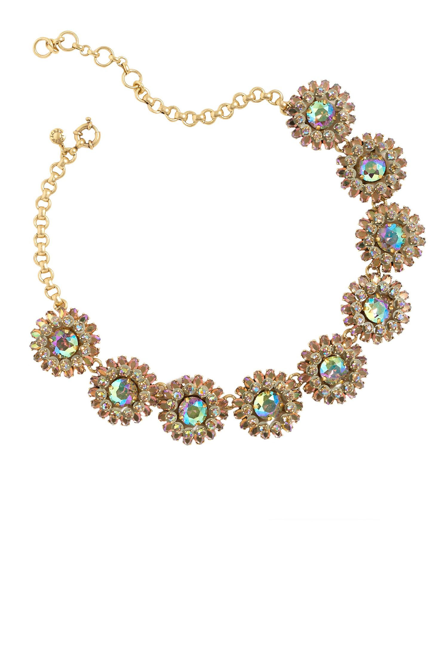 """<p>Sometimes a super-colorful necklace and a bold red lip are all it takes to totally transform a look. Yesterday's navy shift dress? Add this eye-catching statement necklace and we can almost guarantee it's all anyone in your office will be looking at. </p><p><br></p><p><em>Crystal Motif Necklace, $128&#x3B; <a href=""""https://www.jcrew.com/womens_category/jewelry/necklaces/PRDOVR~F3154/F3154.jsp"""" target=""""_blank"""">jcrew.com</a></em><br></p>"""