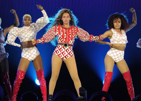 "<p>More custom Gucci à la her ""Formation"" music video, the Italian fashion house created this belted, retro-print number, as well as matching two-piece sets for her backup dancers in an epic red and white story.</p>"