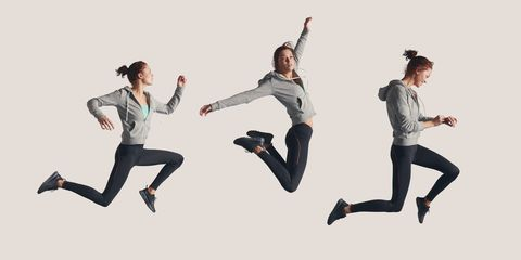 Leg, Trousers, Happy, Leisure, T-shirt, Youth, Knee, Active pants, Gesture, Exercise,