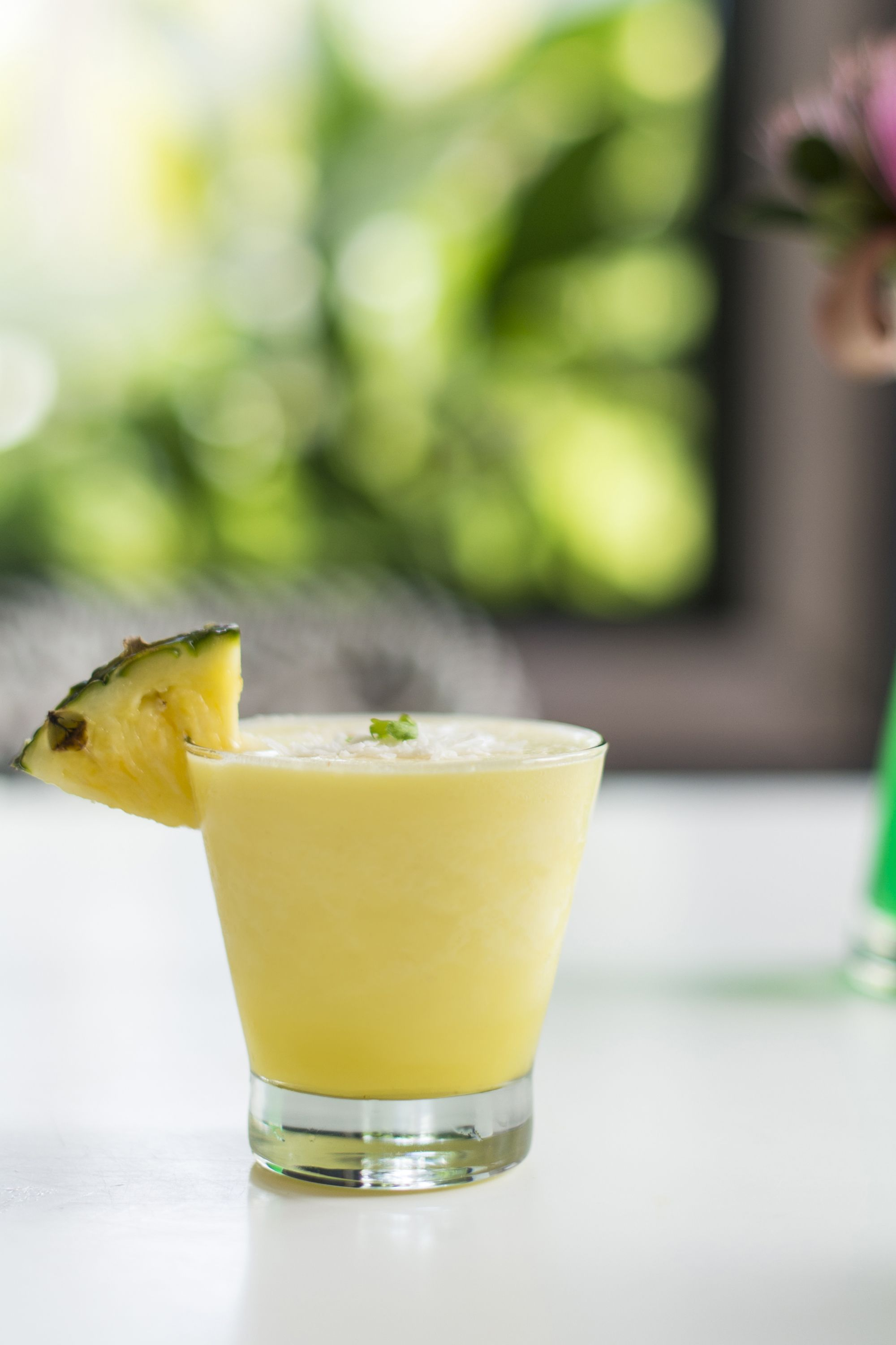 <p>For hydration under the sun, the property's Biekes Detox features agua de coco (coconut water), celery, pineapple, and apple garnished with fresh coconut.</p><p>-</p><p><strong>Recipe for 1 glass—blend together: </strong></p><p>4oz. fresh coconut water</p><p>1 cup of diced pineapple</p><p>½ celery</p><p>½ green apple</p><p>Blend and garnish with fresh coconut shavings.</p><p>-</p><p><strong>To spike, add 1 ½ oz pineapple vodka or rum. </strong></p>