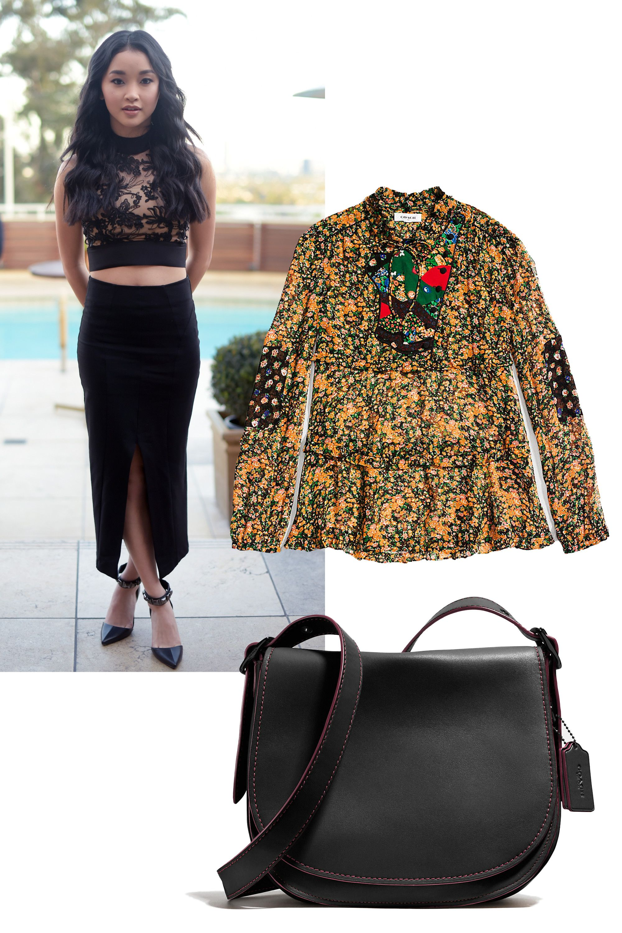 """<p>Throw a summer-y blouse over your crop top to make it more office-appropriate, add in a casual cross body messenger bag to take the edge off  those ultra-high shoes, and BOOM—you're ready for that 10:00 am meeting with the boss. </p><p><em><br></em> </p><p><em>Coach Side Opening Blouse With Applique, $450, <a rel=""""noskim"""" href=""""http://www.coach.com/coach-designer-tops-side-opening-blouse-with-applique/86681.html?CID=D_B_MRC_10794"""" target=""""_blank"""">coach.com</a>; Coach Saddle Bag, $550, </em><a rel=""""noskim"""" href=""""http://www.coach.com/coach-designer-crossbody-saddle-bag-in-glovetanned-leather/37200.html?dwvar_color=MWC1A&CID=D_B_MRC_10795"""" target=""""_blank""""><em>coach.com</em></a></p>"""