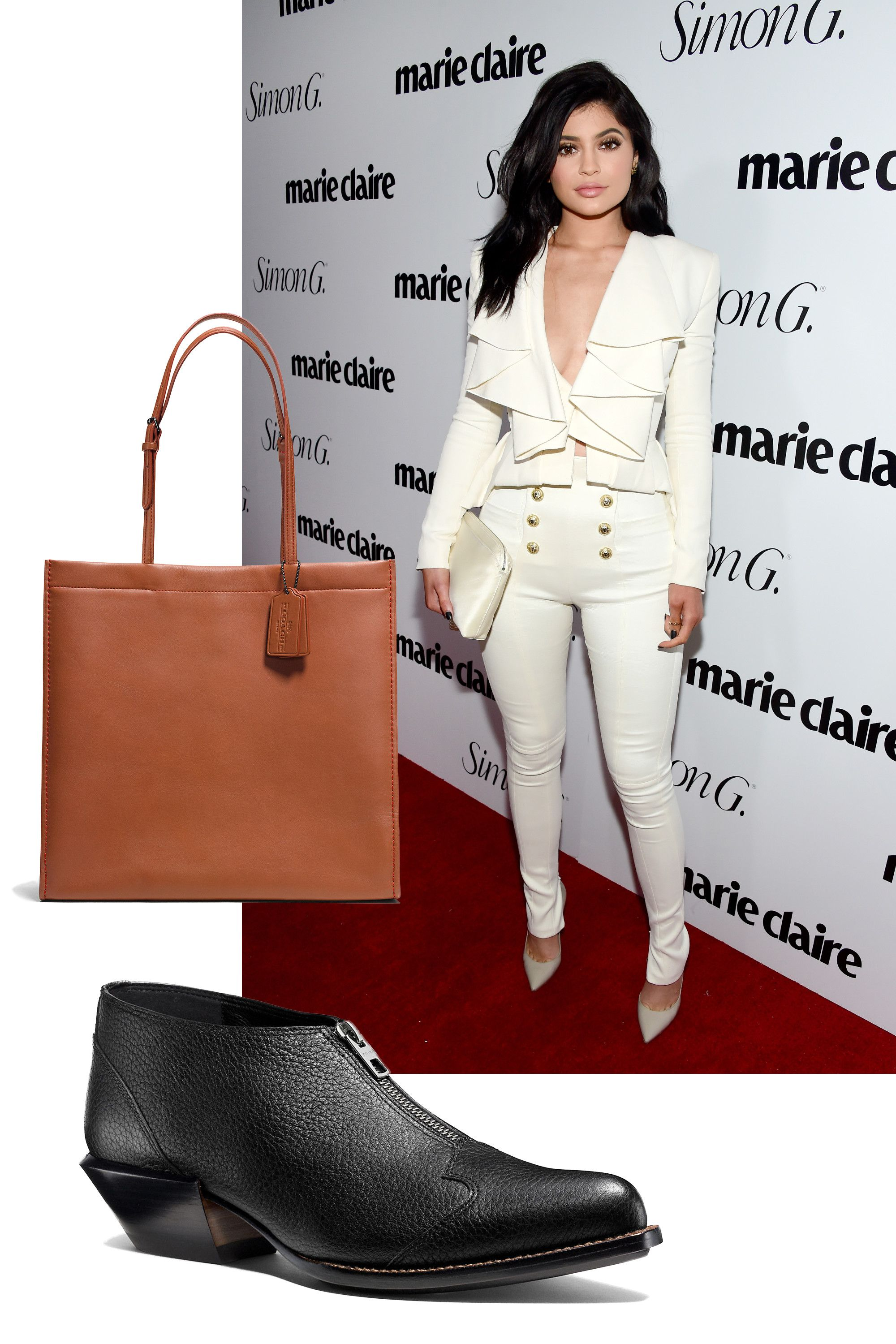 """<p>Pantsuits aren't just something you find in your mom's closet anymore, everyone. All it takes to make Kylie Jenner's stunning party look appropriate for waking hours is a chunky black boot and an oversized tote bag. Voila, nailed it. </p><p><br> </p><p><em>Coach Skinny Tote, $695, <a rel=""""noskim"""" href=""""http://www.coach.com/skinny-tote-in-glovetanned-leather/37295.html?dwvar_color=DKEUX&CID=D_B_MRC_10796"""" target=""""_blank"""">coach.com</a>; Coach Bandit Zip Shoe, $395, </em><a rel=""""noskim"""" href=""""http://www.coach.com/coach-designer-booties-bandit-zip-shoe/Q8176.html?CID=D_B_MRC_10797"""" target=""""_blank""""><em>coach.com</em></a></p>"""