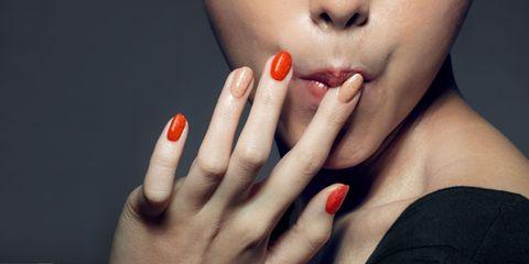 Finger, Lip, Skin, Nail, Red, Nail care, Manicure, Nail polish, Organ, Eyelash,