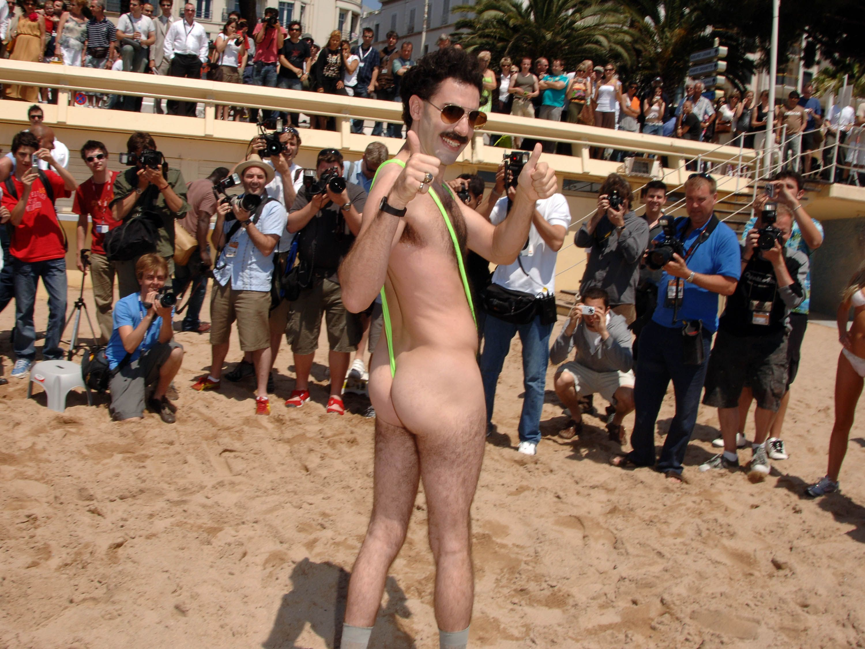 remember when borat wore a banana hammock swimmie on the beach  ugh  us too  the best weirdest most memorable moments in cannes history  rh   marieclaire