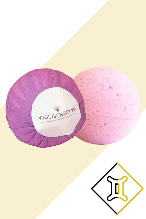 "<p>""Inside of all Geminis there are actually two different people with two different sets of tastes. Those born under this sign love to communicate and get their point across.  Lavender, sweet pea, or a hint of mint will keep everyone interested.""</p><p><strong>Try:</strong> Pearl Bath Bombs in Lavender, $14.94; <a href=""https://pearlbathbombs.com/products/10/lavender-ring-bath-bomb/bath-bomb"" target=""_blank"">pearlbathbombs.com</a></p>"