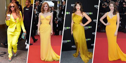 Clothing, Flooring, Yellow, Dress, Shoulder, Joint, Formal wear, Style, Orange, Carpet,