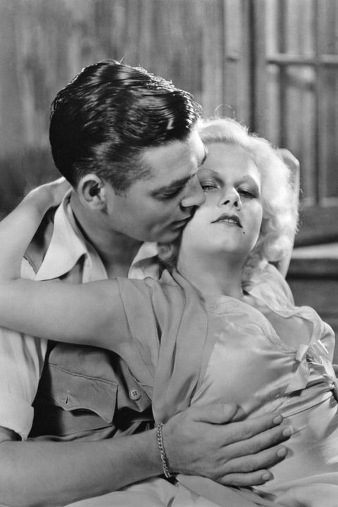 jean harlow, the original blonde bombshell, was hugely popular in 1930s pre code hollywood and liked to do this thing where she wore really clingy dresses without a bra the horror here she is with clark gable, her co star in red dust