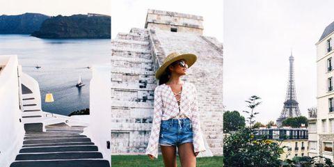 Human body, Denim, Hat, Summer, Street fashion, Landmark, Fashion accessory, Beauty, Tourism, Sunglasses,