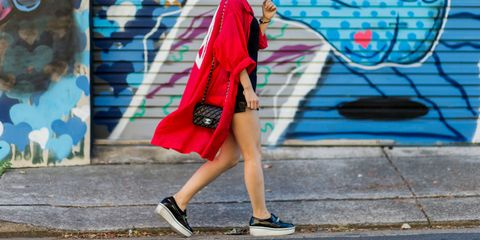 Footwear, Human leg, Shoe, Bag, Style, Street fashion, Magenta, Carmine, Luggage and bags, Electric blue,