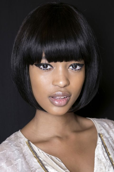Lip, Hairstyle, Chin, Eyebrow, Eyelash, Bangs, Black hair, Style, Wig, Jaw,