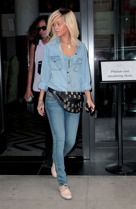 <p>We want to talk about denim, but all we see is this massive fanny back, so...moving on.</p>