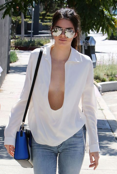 <p>Have you ever seen an ugly sternum? Didn't think so. This is why, if you're going to show anything, it should include the area between your boobs. Go loose enough with a U-neckline top like Kendall's or even just an unbuttoned-to-there shirt and you definitely won't need a bra, no matter how big/ungainly you think you are. </p>