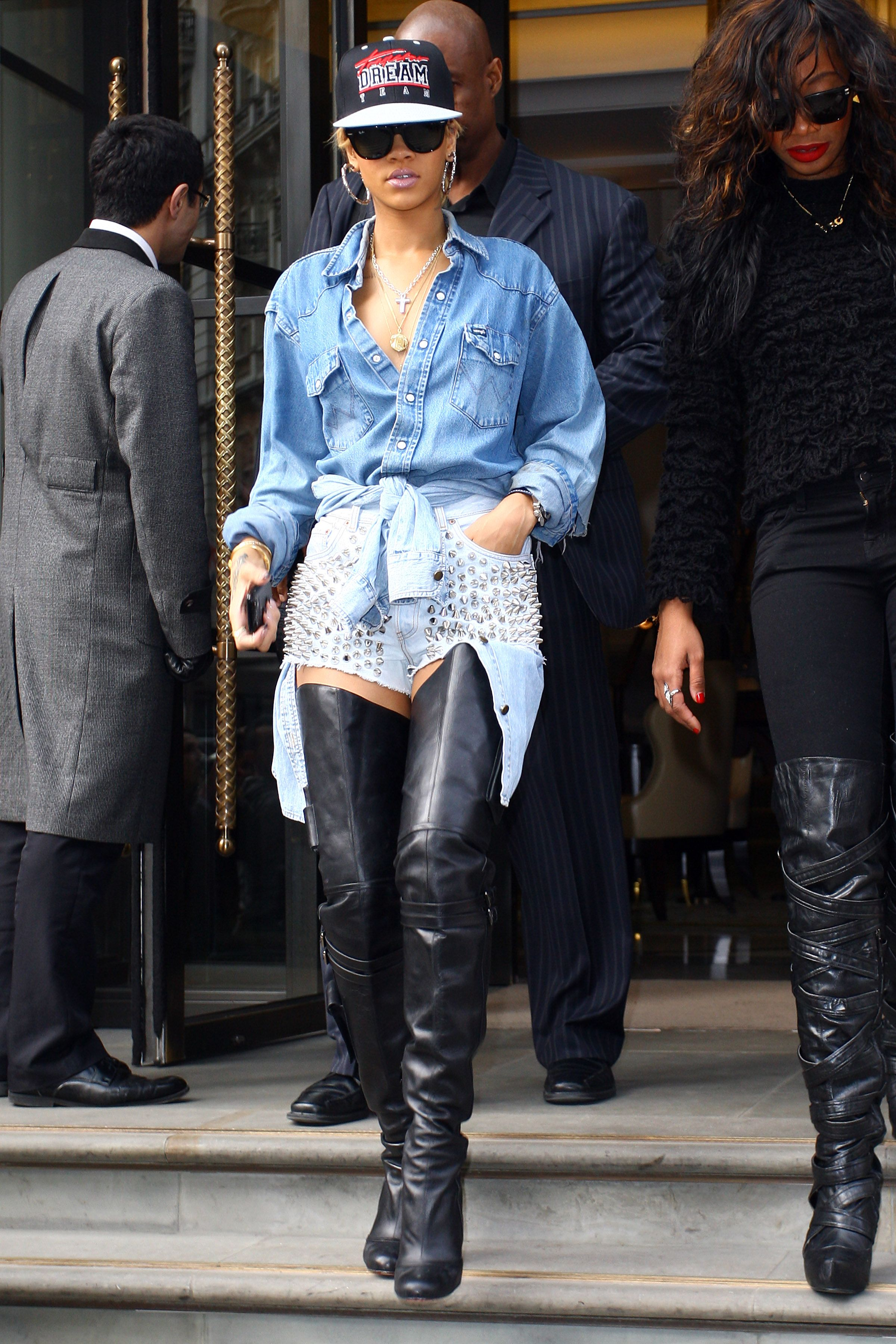"<p>In case you're thinking ""wait, this outfit needs <em>even more denim</em>,"" please note that Rihanna tied a denim blouse around her waist.</p>"