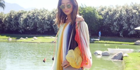 Bag, Goggles, Street fashion, Sunglasses, Pond, Luggage and bags, Long hair, Garden, Palm tree, Arecales,
