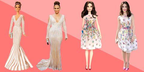 Clothing, Dress, Shoulder, Pattern, Red, Formal wear, Waist, Pink, Style, Flooring,