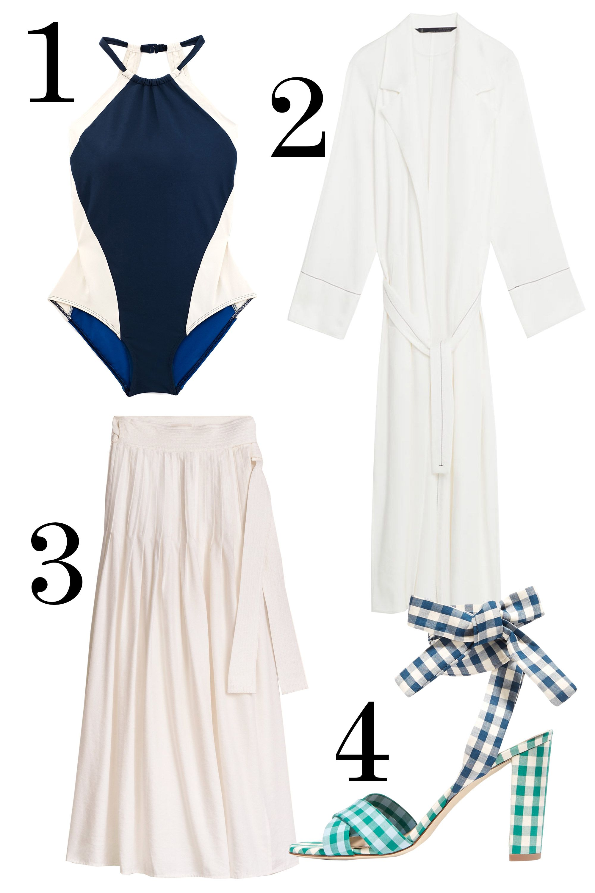 """<p>Not even mad that our bodysuit obsession has no surpassed """"full-blown."""" Treat a one-piece like a Didion-esque leotard, top with a skirt and robe, and tie on some heels that could be espadrilles on the weekend. </p><p><br> </p><p>1. Flagpole Swim color-block swimsuit, $385, <a href=""""http://flagpoleswim.com/collections/one-piece/products/nola"""">flagpoleswim.com</a>. </p><p>2. Zara trench coat, $199, <a href=""""http://www.zara.com/us/en/woman/outerwear/trench-coats/studio-trench-coat-c710517p3669058.html"""" target=""""_blank"""">zara.com</a>. </p><p>3. Aritzia wrap skirt, $150, <a href=""""http://aritzia.com/en/product/essonne-skirt/56196.html?dwvar_56196_color=6824"""" target=""""_blank"""">aritzia.com</a>. </p><p>4. J.Crew gingham sandals, $240, <a href=""""http://rstyle.me/n/bsmdqvbqb8f"""" target=""""_blank"""">net-a-porter.com</a>.</p>"""