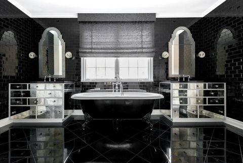 Plumbing fixture, Architecture, Interior design, Property, Room, Bathroom sink, Tile, Tap, Wall, Glass,