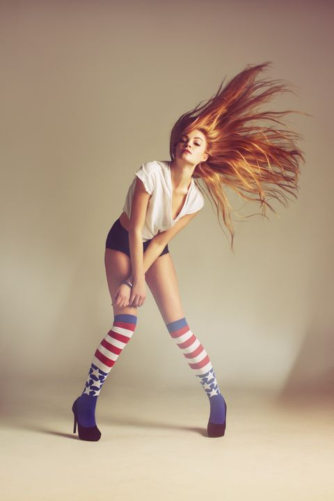 Hairstyle, Human leg, Shoulder, Joint, Elbow, Knee, High heels, Fashion, Thigh, Sock,