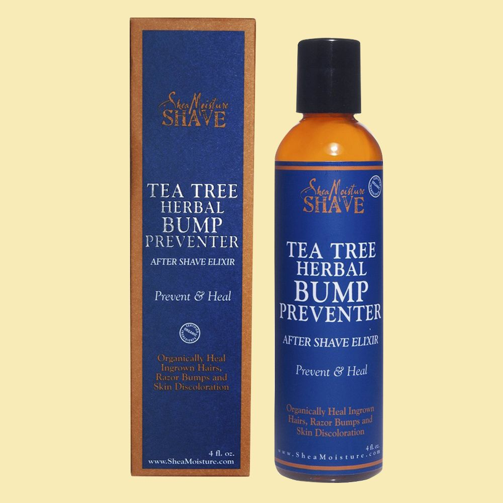 """<p>If you're seriously prone to razor bumps, look to this soothing remedy that contains tea tree oil, a common salve for razor bumps. Instead of going straight to a tea tree oil bottle, a moisturizing  shea butter formula like this will both prime skin pre-shave and heal irritated skin. <strong></strong></p><p><br></p><p><strong>Shea Moisture Tea Tree After Shave & Bump Preventer, $9&#x3B; </strong><a href=""""https://www.amazon.com/Shea-Moisture-preventer-herbal-elixir/dp/B002PIPIHK/ref=sr_1_6_a_it?ie=UTF8&qid=1466784762&sr=8-6&keywords=razor+bumps""""><strong>amazon.com</strong></a></p>"""