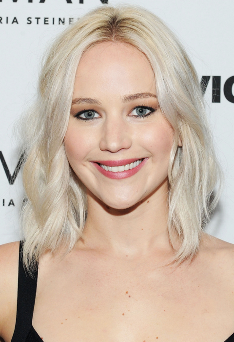 <p>Jennifer Lawrence has done a lot of experimenting on the platinum blonde spectrum, and her current 'do is cooler than cool. <em>Literally</em>. The equal parts white and silver shade is totally reminiscent of the metallic element itself, buuuut is super high maintenance. (AKA you better have purple shampoo on tap.)</p>