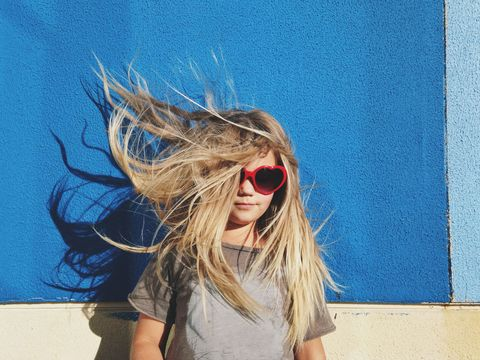 Clothing, Eyewear, Glasses, Hairstyle, Sunglasses, Electric blue, Street fashion, Cool, Blond, Long hair,