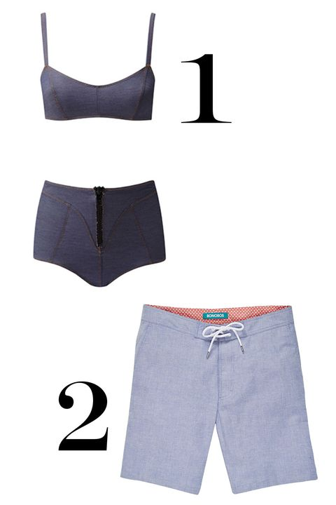 "<p>1. Lisa Marie Fernandez denim bikini, $315, <a href=""http://shop.lisamariefernandez.com/index.php?product=2016CORE006Y+DD"" target=""_blank"">lisamariefernandez.com</a>.</p><p>2. Bonobos board shorts, $88, <a href=""https://bonobos.com/products/surfside-board-short-9?color=blue%20chambray&short-length=9%20in"" target=""_blank"">bonobos.com</a>.</p>"