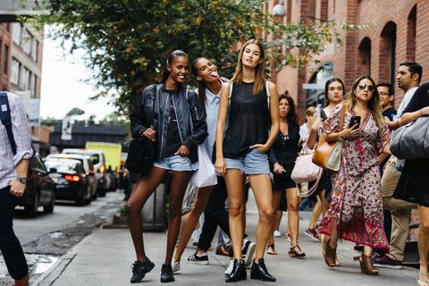 <p>Models live active, dynamic lives hopping on the backs of Vespas and scurrying from show to show, so it only makes sense to adopt their uniform for your own active, dynamic-in-a-different-way life. In the summer, this means cutoffs, black tank or T-shirt, and black boots or sneakers. </p>