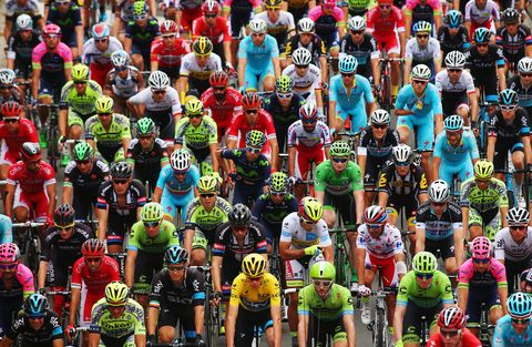 Helmet, Sportswear, Sports gear, Endurance sports, Personal protective equipment, Red, Team, Competition event, Bicycles--Equipment and supplies, Bicycle jersey,