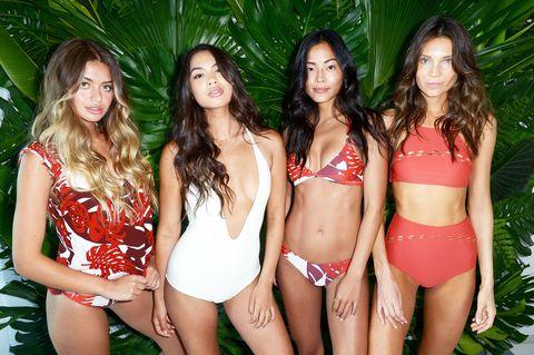 Skin, Social group, Human leg, Brassiere, Thigh, Summer, Abdomen, Beauty, Undergarment, Trunk,