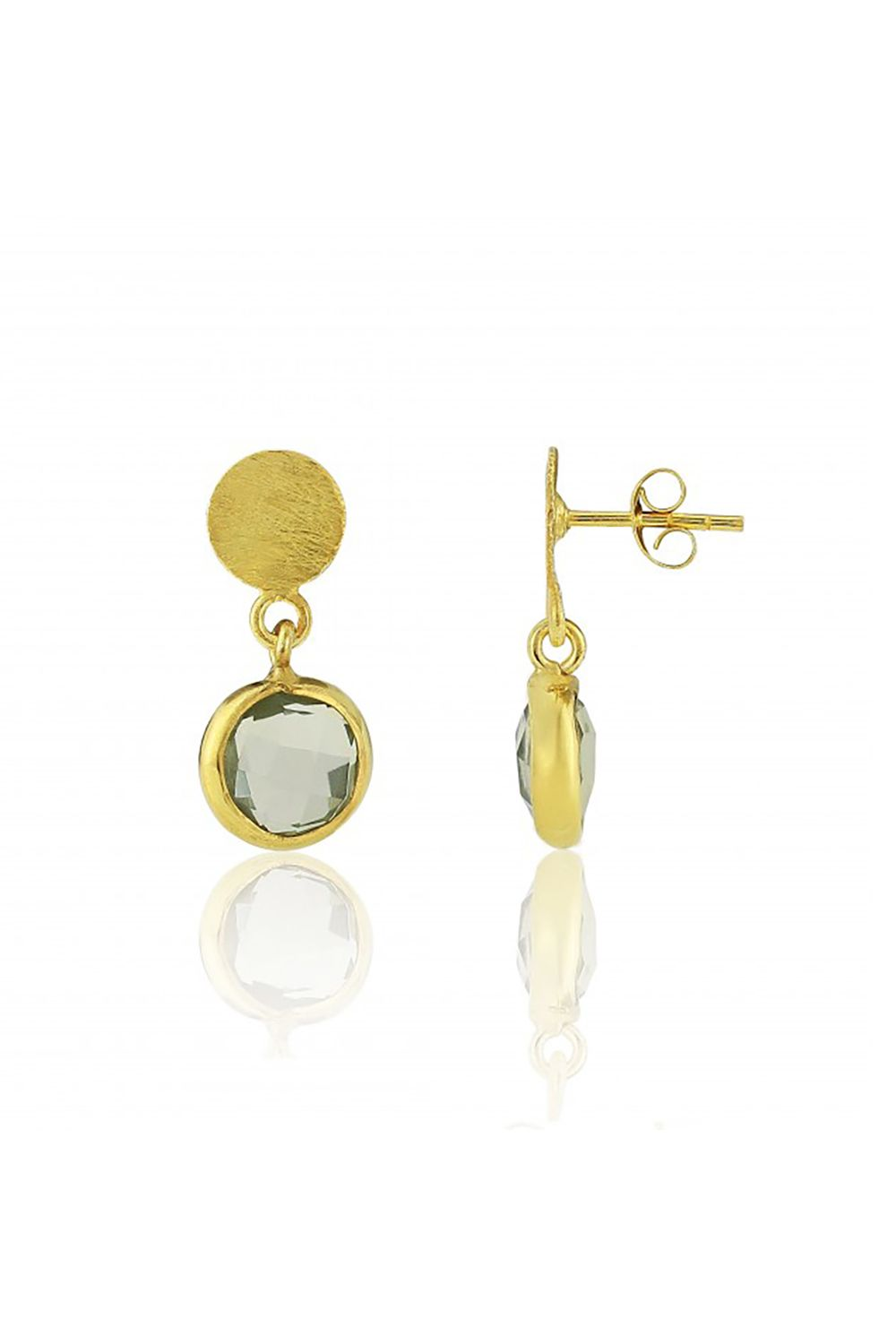 "<p>Just a little chicer than your average drop earrings. </p><p>$50, <a href=""http://www.aureejewellery.com/salina-gold-vermeil-disc-green-amethyst-earrings.html"" target=""_blank"">aureejewellery.com</a>.</p>"