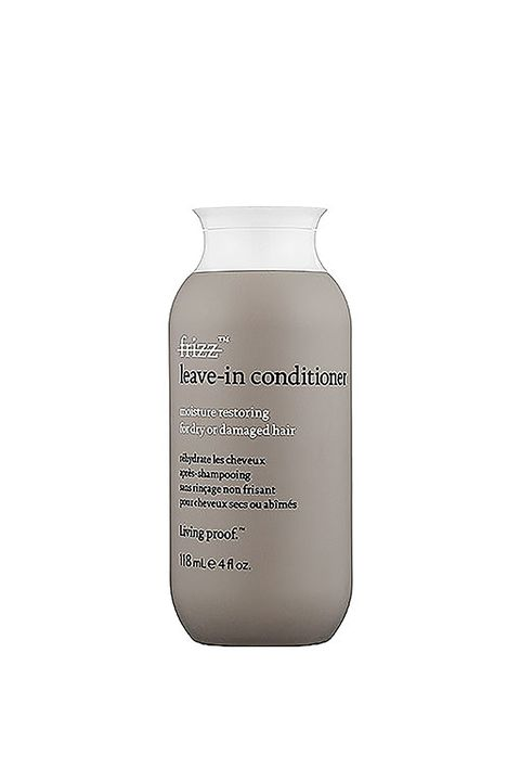 """<p>Fix yourself a glass or three, then apply a less-than-you-thought-you-needed amount of this PolyfluoroEster-rich treatment. (It's a miracle ingredient that creates a shield on the hair to lock in smoothness and repel dirt and oil. Score.) </p><p>Living Proof No Frizz Leave-In Conditioner, $25, <a href=""""http://rstyle.me/n/bvvuzdbqb8f"""" target=""""_blank"""">sephora.com</a>.</p>"""