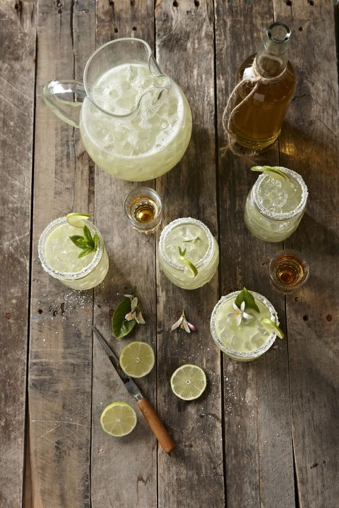 """<p>Like a <a href=""""http://www.simplysated.com/limoncello-margaritas/"""" target=""""_blank"""">sweet and salty</a>, yet super boozy lemonade. </p><p><strong>Ingredients: </strong></p><p><strong></strong>2 oz. Frozen Limeade Concentrate or Lemonade Concentrate</p><p>2 oz. Water</p><p>2 oz. Triple Sec</p><p>2 oz. Silver Tequila</p><p>2 oz. Limoncello</p><p>½ oz. Agave Nectar</p><p>1 Lemon- zest, Yellow Coarse Sugar, and Margarita Salt for the rim</p><p>2-3 cups Crushed Ice</p><p>Lemon Slices</p><p><strong>Directions: </strong></p><p><span></span>Combine coarse sugar, margarita salt, and lemon zest in a shallow bowl. Rub the rim of a cocktail glass with a half slice of lemon. Turn the lemon-rubbed glass upside down and dip the rim into the salt mixture. Set the glass upright to let dry a couple of minutes. Pour crushed ice into a cocktail shaker. Pour all drink ingredients over the ice, tightly cover, and shake for 30 seconds. Pour into prepared glasses. </p>"""