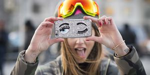 Girl using smartphone case