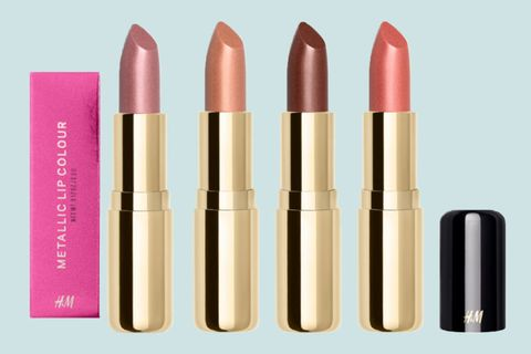 "<p>H&M's creamy, long-lasting lip color formulas now come in a slew of metallic shades—including Sugar and Spice (a moody dark pink) to You're Golden (a muted yellow gold)—that will give your lips sexy dimension.</p><p><br></p><p>H&M Metallic Lip Color, coming soon to <a href=""http://www.hm.com/us/products/ladies/beauty?gclid=CJKEv4Pdus4CFYpkhgodThoCLQ"" target=""_blank"">hm.com</a>.</p>"