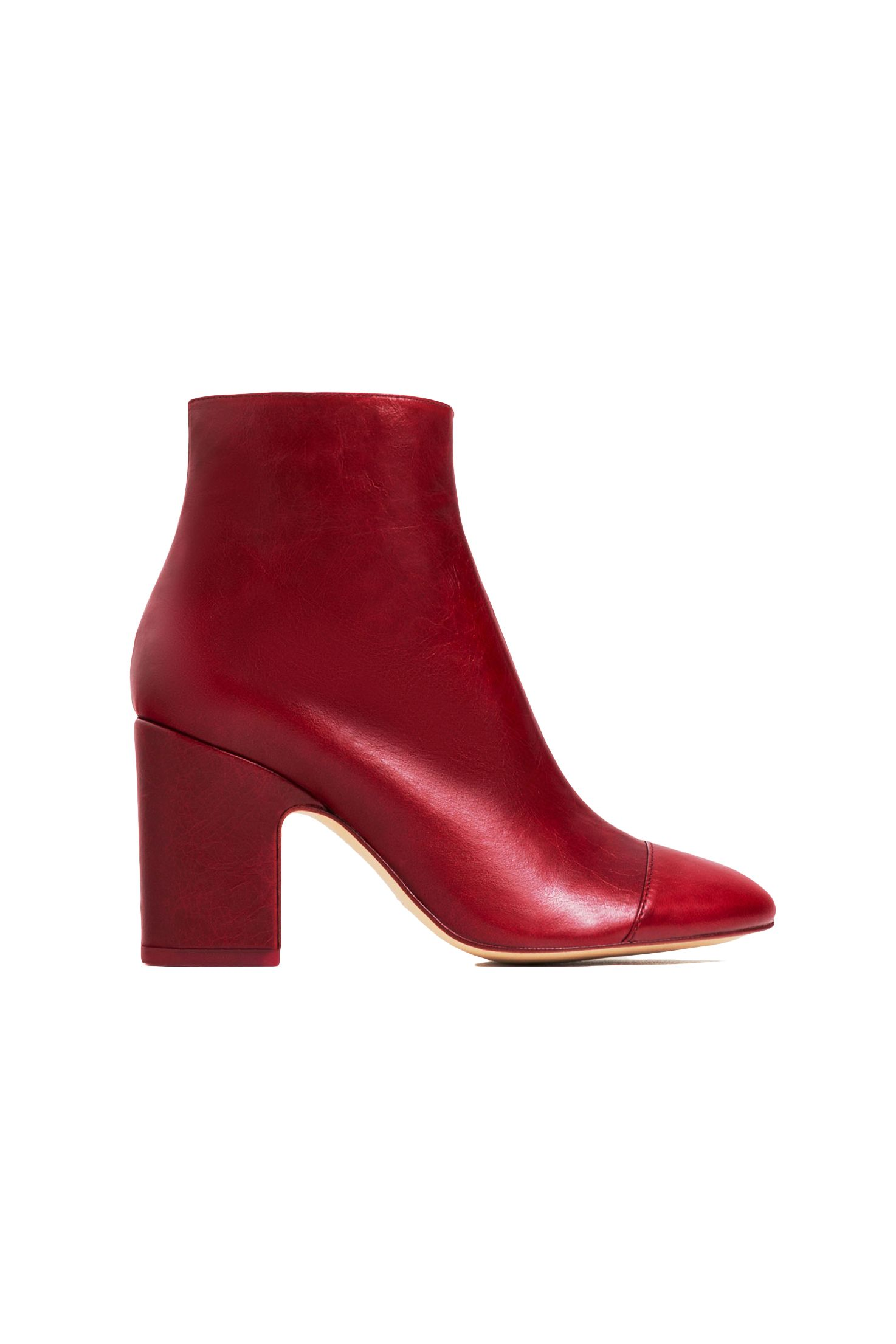 """<p>In the world of fashion free association, toe cap = Chanel = fancy. Plus it visually shortens the length of the foot. </p><p>$139, <a href=""""http://www.zara.com/us/en/woman/shoes/boots-and-ankle-boots/high-heel-leather-ankle-boots-with-toe-cap-c665040p3610010.html"""" target=""""_blank"""">zara.com</a>.</p>"""