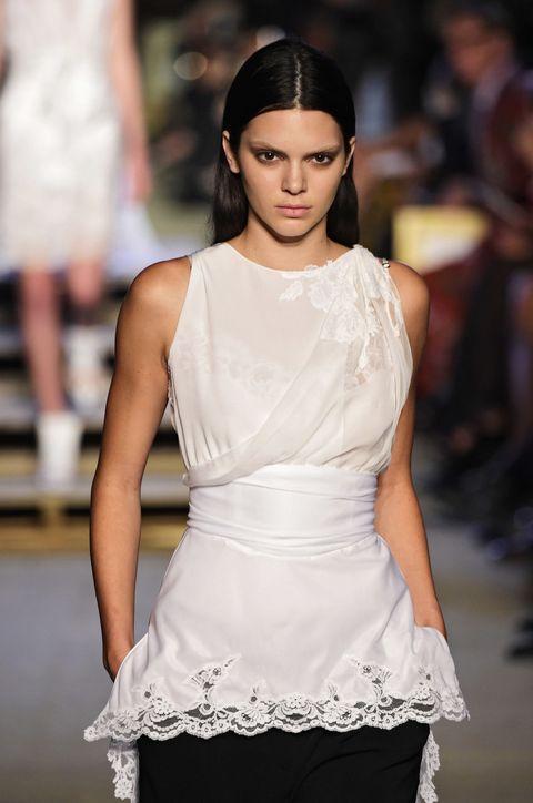 Hairstyle, Shoulder, Fashion show, White, Style, Fashion model, Dress, Waist, Eyelash, Beauty,