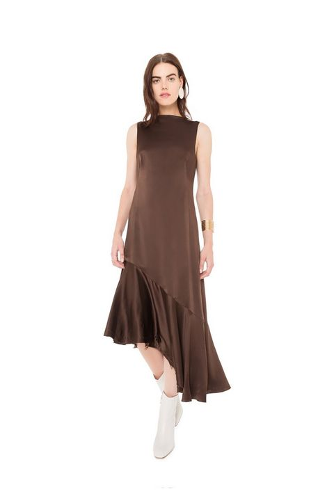 "<p>What's brown and ruffly and weirdly cute all over? </p><p>$495, <a href=""http://www.thisisveda.com/collections/dresses/products/crown-silk-dress-dark-chocolate"" target=""_blank"">thisisveda.com</a>.</p>"