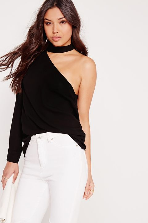 "<p>Styling tip: Add a <a href=""http://www.marieclaire.com/fashion/news/g3949/best-affordable-chokers/"" target=""_blank"">choker</a> on top of the built-in choker for maximum choker-age. </p><p>$32, <a href=""https://www.missguidedus.com/choker-neck-one-shoulder-blouse-black"" target=""_blank"">missguidedus.com</a>.</p>"