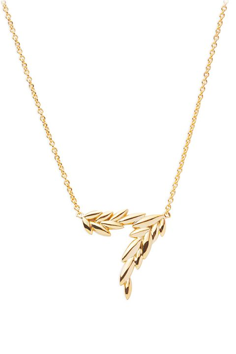 "<p>A stylized&nbsp;olive branch that stands for peace,&nbsp;not pettiness.&nbsp;&nbsp;</p><p>$74,&nbsp;<a href=""http://www.mejuri.com/shop/products/olive-leaf-necklace"" target=""_blank"">mejuri.com</a>.</p>"