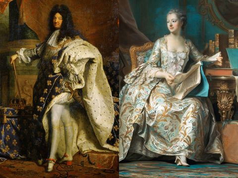 <p>Though heels today are wore almost exclusively by women, the style was popular among men throughout the 1600s and 1700s. French royalty in particular, like Louis XIV (left) and Marquise de Pompadour (right), were fans of the heeled shoe as it conveyed that the wearer had no use for practical footwear, or the need to walk easily. </p>