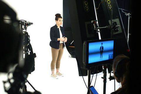 Display device, Microphone stand, Multimedia, Gadget, Broadcasting, Filmmaking, Television studio, White-collar worker, Media, Job,