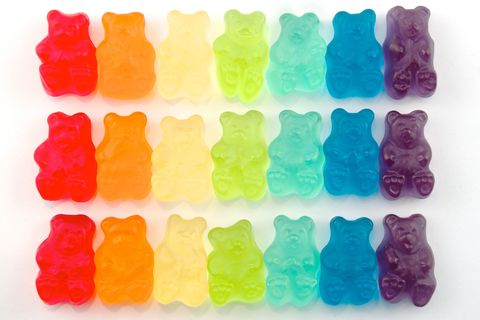 Blue, Colorfulness, Green, Yellow, Red, Gummi candy, Amber, Plastic, Confectionery, Orange,